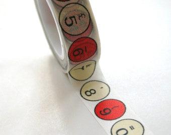 Washi Tape - 15mm - Red Typewriter Keys - Deco Paper Tape No. 320