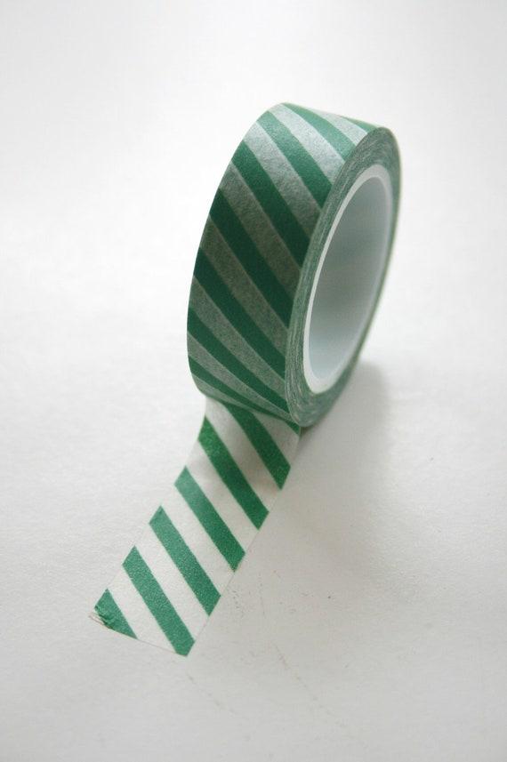 Washi Tape - 15mm - Green and White Diagonal Stripe - Deco Paper Tape No. 464