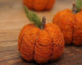 Needle Felted Pumpkin in Burnt Orange Wool