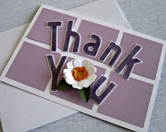 Embossed Thank you Card with a Quilled Flower in Purple