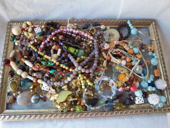 Mixture Over 2 lbs. Beads/Cabs/Broken/Semi Precious/Glass/Wood/Metals