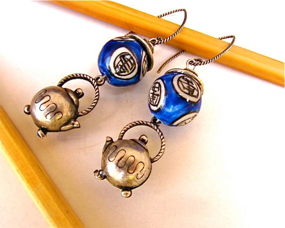 Funky Teapot Earrings with Sterling Silver and Blue Asian Porcelain