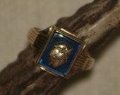 Retro Masonic Gold Burning Heart Ring 7.5