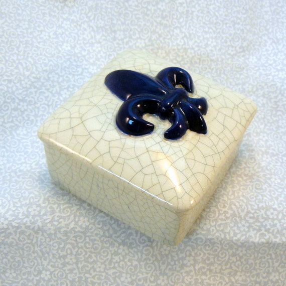 Ceramic Keepsake Box - Fleur de Lis Keepsake Box - Blue