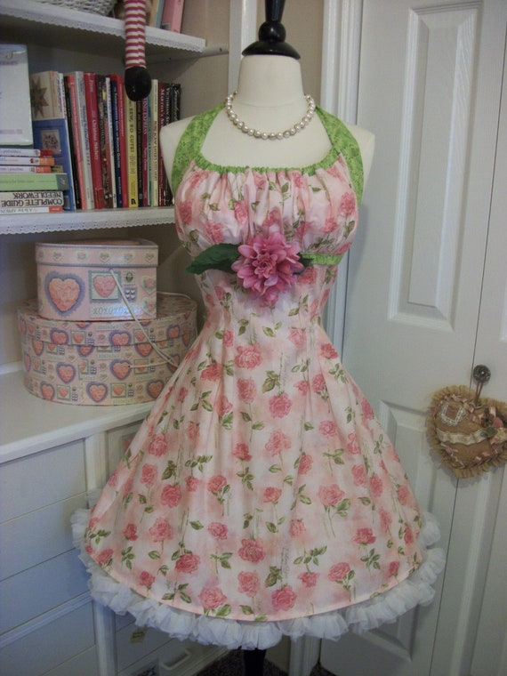 Butterfly Roses retro hand made apron