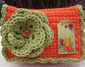 RESERVED for Gabby   Burnt Orange and Leaf Green with Hand Painted Autumn Leaves Wooden Tag Crocheted Cotton Little Bit Purse