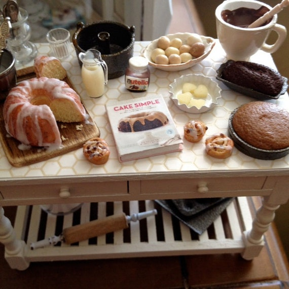 Miniature Country Kitchen Baking Table