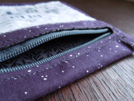 Purple Black and White Victorian House Zipper Pouch