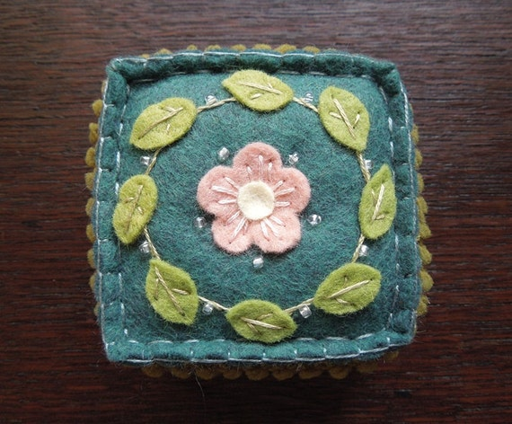 Embroidered Teal Green and Pink Wool Felt Pincushion
