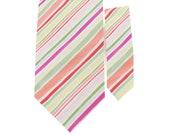 Father and Son Necktie Set - Pink Green Stripe Necktie - Bray - Matching Silk Tie Set