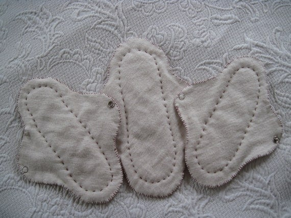 One extra wide and Two small 100% organic cotton Cloth Pads