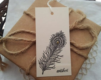 Mini Wedding Wish Tree Tags Peacock Feather Set of 30