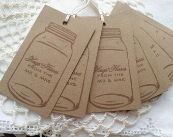 Mason Jar Tags Ball Canning Wedding Hugs and Kisses Mr. and Mrs. Wedding Reception Favor Tags Set of 8