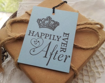 Wedding Wish Tree Tags Happily Ever After Crown Set of 25