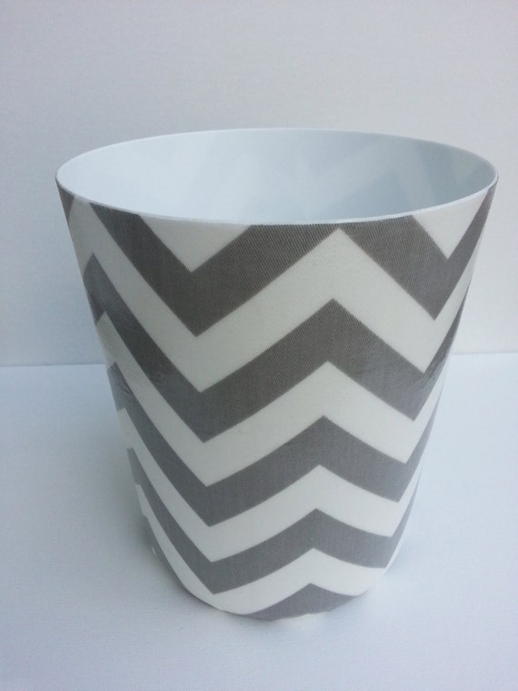 Chevron Wastebasket Trash Can Your choice of color Grey