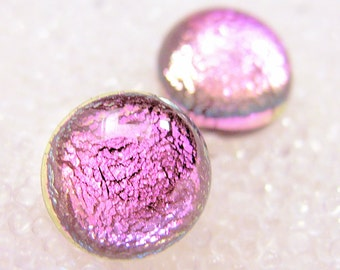 Dichroic Sparkling Soft but Bright Pink Fused Glass Stud / Post Earrings