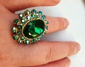 Vintage Costume Cocktail Ring with Deep Green Stones and Gold Setting