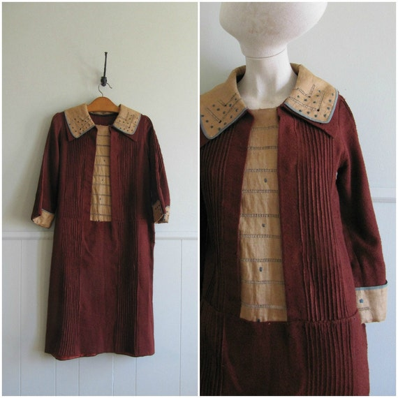 1920s vintage linen and wool workwear dress