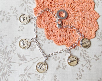 Jane Austen Charm Bracelet Pride and Prejudice Mr Darcy Vintage Upcycled. Text Bridal Wedding Bridesmaid Gift. Romance Love Handmade Silver