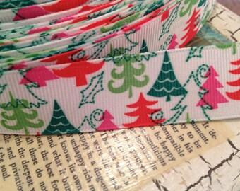 "3 yards 7/8""  MODERN CHRISTMAS TREES Grosgrain Ribbon"
