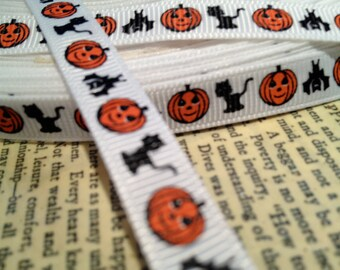 "3 yards 3/8"" HALLOWEEN Fall Cats Pumpkins and Bats sold by the yard"
