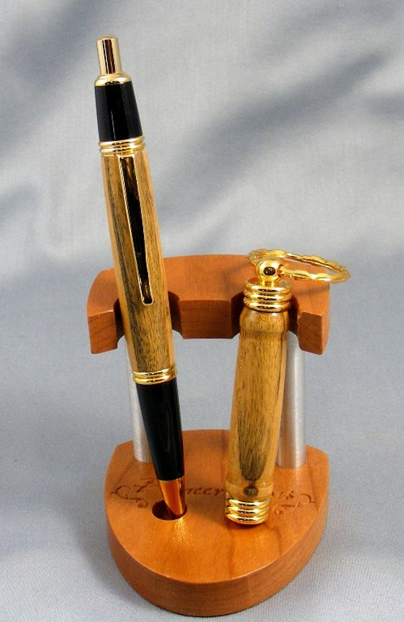 Black and White Ebony Click Pen and Matching Keychain