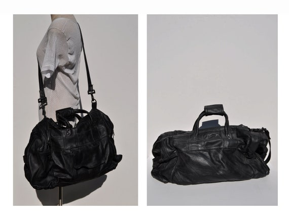 vintage leather CARRY-ON tote shoulder luggage bag overnight duffle duffel LARGE