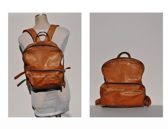 vintage leather backpack vintage brown LEATHER BACKPACK tote rucksack back pack ruck sack