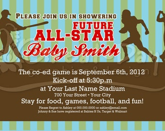 Custom Sports All Star Baby Shower or Birthday Invitation Football Baseball Golf or Basketball