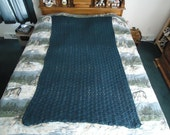 Cape Cod Blue Hand Crocheted Shells Afghan, Blanket, Throw - Home Decor