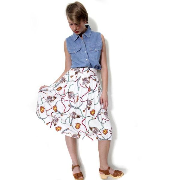 Vintage skirt. horse print full skirt. size XS/S