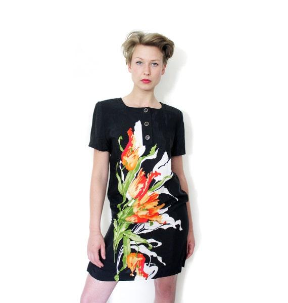 Vintage dress / black flower dress / size S