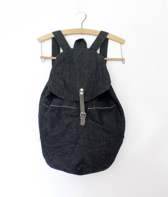 Vintage backpack / dark denim rucksack