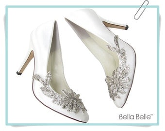 Wedding Shoes with White Embellished Vine Crystal Applique Beading,  Bella Belle DAWN Satin Bridal Pumps