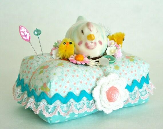 Vintage Hen and Chicks Pincushion