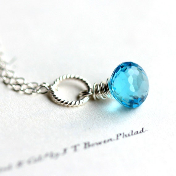 Swiss Blue Topaz Necklace December Birthstone on Sterling Silver Chain Winter Fashion Under 75