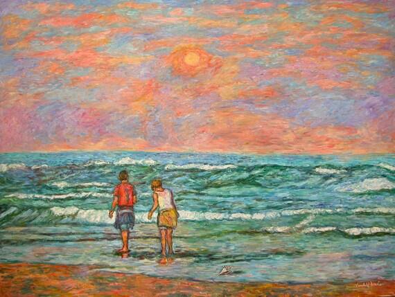 Morning Stroll at Isle of Palms Art 40x30 Impressionist Beach Ptg.  Award Winner Kendall Kessler