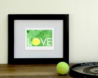 Tennis love watercolor art print, lemon and lime