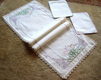 Embroidered runner hand made Table Hemstitched Linen Dresser scarf PINK BLUE Crocheted Lace TULIPS Flowers