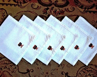 Vintage but NEW Napkin set 6 white Large hemstitched LIFE Magazine hankies