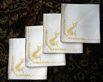 NAPKIN Set 4 Vintage Linen EMBROIDERED Cross Stitched Sweet Yellow DUCKS