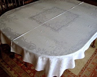 DAMASK Tablecloth Vintage Pure Linen Sleek Bone White Smooth Quality Picture Frame 60""