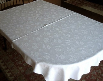 DAMASK Tablecloth Vintage Pure Linen Sleek White Smooth Quality Sweet Flowers 54""