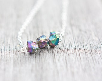 Druzy Necklace Titanium rainbow Modern Minimalist jewelry Boho fashion rustic neutral silver gray