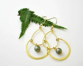 Earrings.  gold double hoop, sage green Swarovski glass pearls