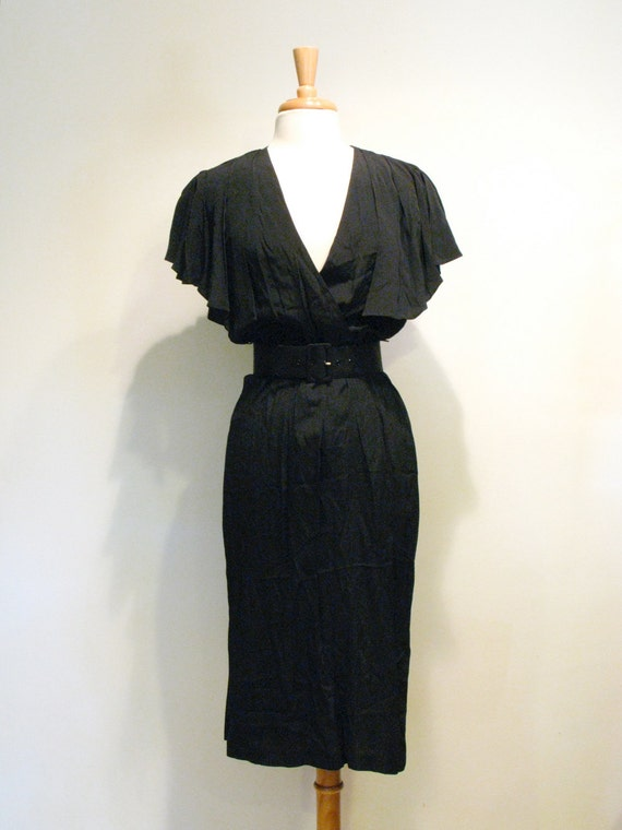 Black Wiggle Dress with Capelet Sleeves