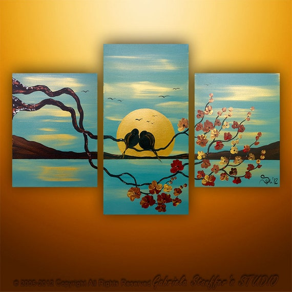 Abstract modern painting landscape asian blossom tree by for Imagenes de cuadros abstractos famosos