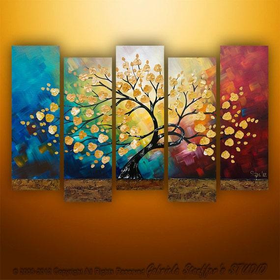 Original Modern Landscape Asian Tree Blossom Textured Painting Art by Gabriela 50x30 LARGE