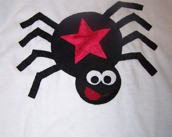 Funny Spider Tshirt Pieced Fabric Applique Infant Baby Toddler 6m, 12 month, 12m, 18 month, 18m, 2T, 3T, 4T