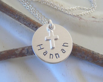 Child's name necklace with TINY cross - Baptism, Goddaughter keepsake gift - Sterling silver name, baby cross - Photo NOT actual size